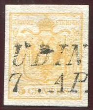 1851 ASI Lombardo Veneto 5 cent. giallo arancio prima tiratura usato spl cert.