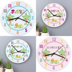 Animal Alphabet Personalised Clock Kids Bedroom - ANY NAME - Girl / Boy