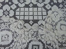4 X ANTIQUE HAND MADE - DARNED NET LACE FILET BURATO STYLE LINEN DOILIES VGC
