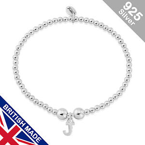 Trink Initial 'J' Letter Charm Sterling Silver Beaded Bracelet Top Gift/Present