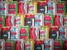 BEER CANS CRAFT REALISTIC BEERS DRINKS COTTON FABRIC FQ