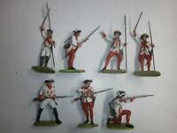 Konvolut 7 alte Elastolin Kunststoff Soldaten 7.5cm Österreicher kämpfend Offiz.