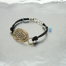 Hadar Designers Yng Leather Bracelet Hamasa +Ancient Hebrew Script Mazal Tov (as