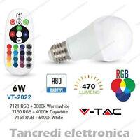 Lampadina led V-TAC 6W = 40W E27 VT-2022 A60 multicolore rgb telecomando globo