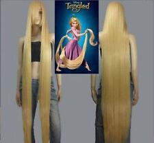 HOT Disney Movie Tangled Rapunzel Long Blonde Cosplay Straight Wig Hair 150cm #2