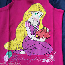 Official Girls Disney Princess Rapunzel T-shirt Top Vest Lace Pink Sleeveless 7 Years