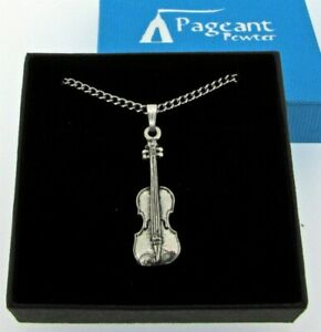 Violin Silver Pewter Pendant On A Chain