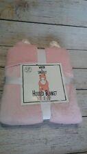 """Pink Cat Hooded Warm & Snuggly Velvet Fleece Throw Blanket 50""""X 60"""""""