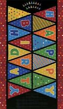 Moda Beary Happy Birthday 55520 13 Black Banner PANEL 24'' Cotton Fabric