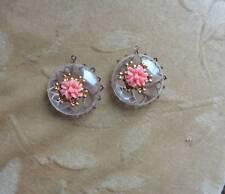 6 Vintage Lucite/plastic,HOLLOW bead,pendant,enamel