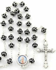 NEW MADE IN ITALY MEDIEVAL STYLE BLACK GLASS BEAD SACRED HEART OF MARY ROSARY