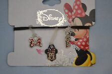 Disney Minnie Mouse (3) Charms for Rubber Band Jewelry Rainbow Loom Bands- NEW