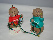 1992 Hallmark Cards Mom & Dad Little Beaver Cute Christmas Tree Ornament