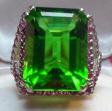 BIG! NATURAL MOLDAVITE 12.30 CT, RUBY RING,925 SILVER,ESTATE JEWELRY.SIZE 7.0.