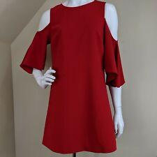 Alice + Olivia Coley Cold Shoulder Mini Dress Red Shift Angel Sleeves Crepe Sz 4