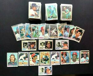 166 card Lot of 1978 Topps Baseball Cards with 8 HOF Players