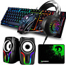 5 in1 Gaming Combo Speakers Rainbow LED Backlit Wired Keyboard Mouse and Headset