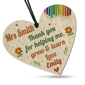Personalised Thank You Teacher Help Grow Learn Gifts Leaving School Wooden Heart