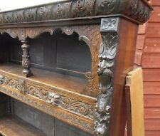 19C Victorian Gothic Carved Oak Green Man Bookcase
