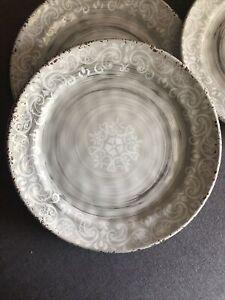 Nicole Miller Grey Rustic Medallion Print Edge MELAMINE Dinner Plates Set 4