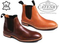 Mens Leather Chelsea Boots Catesby Ankle Twin Gusset Casual Dealer Work Shoes