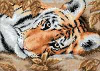 Counted Cross Stitch Kit ~ Dimensions Gold Collection Beguiling Tiger #65056