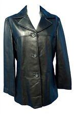 02769 Siena Women Coat Jacket Genuine Real Leather Black Large Bust 40