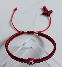 Red & Black String Bracelet, Red evil eye,good luck charm With Cross Woven End.