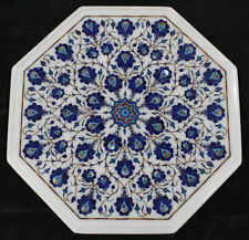 "18"" Marble Table Top Lapis Inlay Pietra dura​ Work Home Decor And Garden"