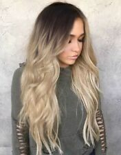 "UK 28"" Women Ladies Long Blonde Ombre Curly Wigs Natural Full Wavy Hair Wig"
