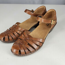 Clarks Bendable Leather Brown Wedge Strappy Sandal Heeled Fisherman 10 M