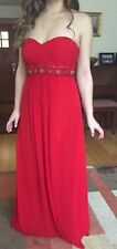 Beautiful Red Prom Dress With Sweetheart Neckline, Breading, And Rouching