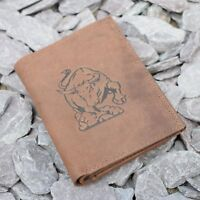 Mens Leather Tall Wallet with Bull Logo embossed in Brown Hunter Suede