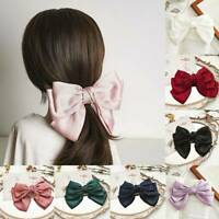 Women Girl's Big Bow Hair Clip Satin Barrette Hairpin Ponytail Hair Accessories