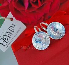 925 STERLING SILVER EARRINGS WITH SWAROVSKI Elements RIVOLI WHITE PATINA 14mm