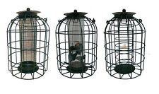 Set of 3 Hanging Wild Bird Feeders Seeds Nuts & Fat Balls Squirrel Guard