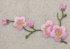 LEFT Pink Flowers/Blossom Quince Green Stem Iron on Applique/Embroidered Patch