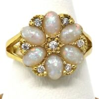 Antique 5 Ct White Opal Statement Ring Wedding Birthday Jewelry 14K Gold Plated