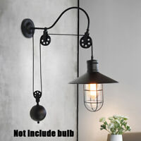 Vintage Edison Industrial Wall Mount Light Sconce Retro Lamp Lift Pulley Fixture