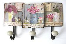 Shabby Chic Hakenleiste Lavendel 3 Haken Breite 34cm Metall und Porzellan Küche