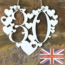 30th Birthday Gift White Love wall hanging heart decoration 30 Thirty today sign