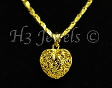 3-d  18k solid yellow gold pop heart pendant filigree h3jewels #1075  2.10 grams