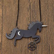 Large Glitter Unicorn Pentagram Pendant Necklace Black Acrylic Jewelry Gifts