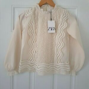 Zara Girls Guipure Combined Broderie Anglaise Blouse Top Age 10 New