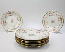 Set 7 Antique Theodore Haviland Limoges Porcelain Dessert Plates - DBL Gold PC