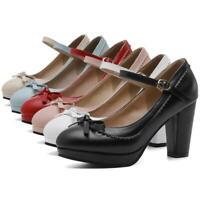 Women Mary Jane Shoes Platform Block Heel Buckle Ankle Strap Pumps Bow wedding