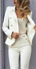 White Women Ladies Cotton Blend Fabric Business Office Tuxedos Work Wear Suits