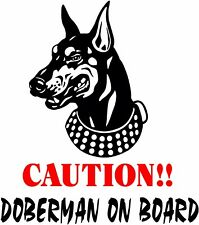 Caution! Doberma 00004000 n On Board dog window vinyl decal Stickers Puppy Paw K9