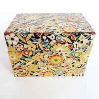 Vintage J Chein Metal Recipe Box Flowers Floral Black Gold Highlights & Interior