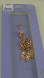 Dream catcher crystal belly button navel ring piercing naval dangle copper tone